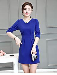 Sign 2017 spring new long section v-neck long-sleeved dress Slim Slim bottoming skirt big yards