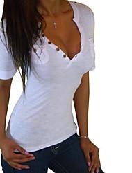 Souhaiter aliexpress luxiong serré v-cou manches courtes boutons chemise t-shirt
