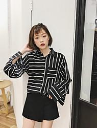 Sign PEONY Korea early spring new retro fashion glossy loose striped long-sleeved shirt female