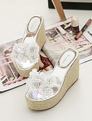 2017 nova mola e verão encosta grossa crosta com vidro de fundo de cânhamo, plástico flores flores moda sandálias sapatos
