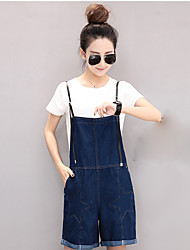 European Grand Prix 2017 new casual pants loose five-pointed star leather shoulder strap denim overalls