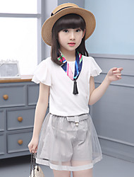Girls' Going out Casual/Daily Holiday Patchwork Sets Cotton Summer Short Sleeve Ruffle Top Lace Shorts 2 Pieces Clothing Set with Scarf