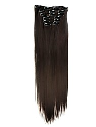 Synthetic Hair 130g  with Clips 16 Clip in Hair Extensions False Hair Hairpieces Straight Hair 58cm Long Straight Apply Hairpiece D1014 2/33#