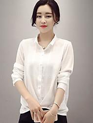 Шифон рубашка женский 2017 весной новый твердый дикий нижняя рубашка рубашки была тонкая женская кукла воротник шифона рубашка