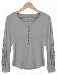 AliExpress 2015 modelos explosão foi rendas finas em torno do pescoço t-shirt de manga comprida camisa de renda manga grandes estaleiros
