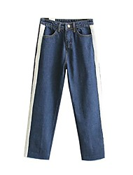 Women's Low Rise Inelastic Jeans Pants,Simple Active Loose Striped