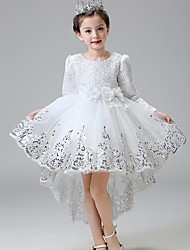 Ball Gown Asymmetrical Flower Girl Dress - Lace Satin Tulle Jewel with Bow(s) Flower(s) Lace Sequins