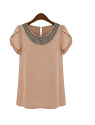 * The new European and American women's beaded chiffon shirt short-sleeved summer lotus sleeve chiffon blouse
