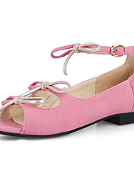 Damen-Sandalen-Outddor Kleid-Kunstleder-Flacher Absatz-Komfort-Schwarz Beige Rosa