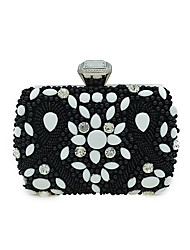 L.WEST Women's Luxury High-grade Nail Bead Artificial Pearl Jewels Evening Bag