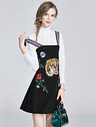 Mujer Chic de Calle Sofisticado Noche Casual/Diario Fiesta/Cóctel Con Muelle Otoño T-Shirt Vestidos Trajes,Escote Redondo Estampado Animal