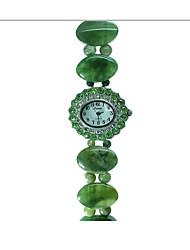 Femme Montre Tendance Quartz Vert de Jade Bande Vert Vert