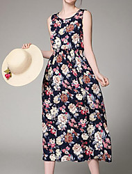 Women's Beach Simple Swing Dress,Print Round Neck Midi Sleeveless Polyester Summer Mid Rise Inelastic Medium