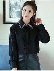 Petits grains nouvelle version de l'hiver 2016 coréenne était mince dentelle chemise en vrac en vrac chemise polo féminin chemise col