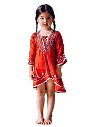 Girl's Going out Casual/Daily School Geometric Embroidered DressCotton Summer Spring Fall Half Sleeve kids Baby Dresses