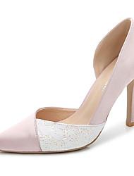 Feminino-Saltos-Sapatos clube-Salto Agulha-Branco Preto Rosa Claro Azul Real-Seda-Casamento Ar-Livre Escritório & Trabalho Social Festas