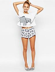 Ebay Aliexpress до и после горячей новой женского шаблона слон печати рубашки вокруг шеи короткого рукава футболки женщин