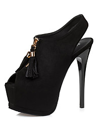 Damen-High Heels-Kleid-Wildleder-Stöckelabsatz-Komfort-Schwarz Grau Grün Burgund