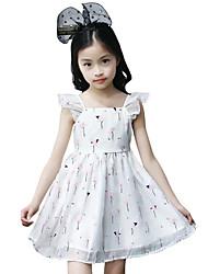 Girl's Beach Solid Floral Dress,Polyester Summer Sleeveless
