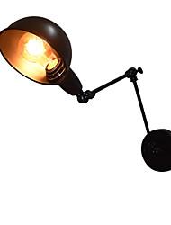 Ac220v-240v 40w e27 applique murale en fer pliable noir simple rétro applique murale simple tête lampe murale décorative style européen