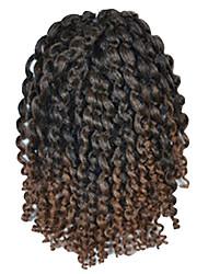 1 Pack 8inch Black Dark Brown Mix Curly Afro Kinky Mali Bob Braids Hair Extensions Kanekalon Hair Braids 30g (5-6packs/head)