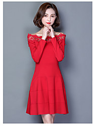 Women's Going out Party Simple A Line Dress,Solid Embroidered Boat Neck Above Knee Long Sleeve Cotton Spring Mid Rise Micro-elastic Medium