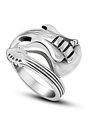 New Fashion Jewelry Stainless Steel Mens Ring Titanium Steel Engraved uitar Punk Rock Class Silver Rings for Men