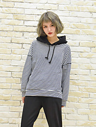 Nearby Nett - wild casual preppy striped hooded knit sweater jacket