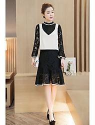 2017 Primavera longa seção magro da fêmea nova vestido de renda com babados da manga chifre terno de saia colete outono e inverno