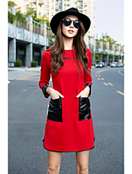Europeus e americanos grande Outono nova e bolso grande inverno costura era vestido fino