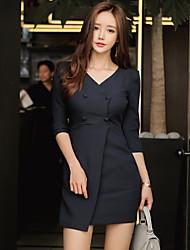 novas mulheres double-breasted coreano&# 39; s senhoras v-neck pacote de hip manga magro carreira temperamento vestido maré