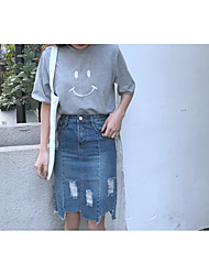 Sign # 620 Spring new high waist denim skirt female irregular holes fringed skirts A word