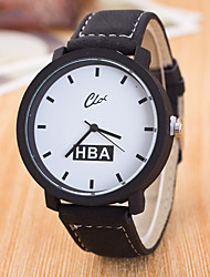 Men's The New Big Dial Leather Strap Personality Geneva Quartz Watch