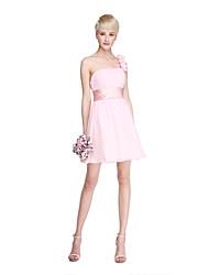 Lanting Bride® Short / Mini Chiffon Elegant Mini Me Bridesmaid Dress - A-line One Shoulder with Draping Flower(s) Sash / Ribbon Ruching