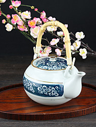 Japanese High Temperature Porcelain Teapot with Vintage Dark Blue Bubble Design
