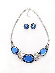 Set de Bijoux Aigue-marine Circulaire Mode euroaméricains Cristal Alliage Forme Ovale Bleu1 Paire de Boucles d'Oreille Colliers