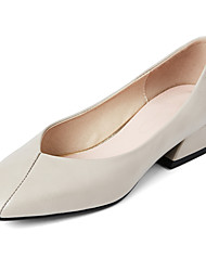 Women's Heels Summer Fall Club Shoes PU Office & Career Dress Casual Low Heel Split Joint