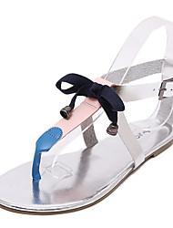 Women's Sandals Summer Gladiator PU Casual Flat Heel Bowknot