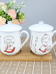 GrandpaGrandma High Temperature Porcelain Couple Cup with Cup Cap 210 ml each