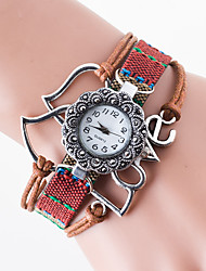 Women's Hot Style Creative Flower Set Auger Double Hearts LOVE Students Knitting Fashion Watches
