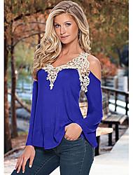 2015 europeu e americano novo splicing v-neck lycra t-shirt outono e inverno sexy escapamento ombro blusa selvagem