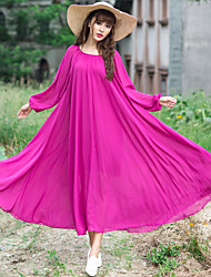 Long-sleeved dress was thin large size women floral chiffon dress put on a large umbrella skirt