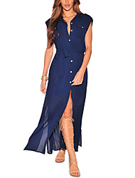 Women Casual/Daily Holiday Sexy Simple Sheath DressSolid Split Shirt Collar Maxi Sleeveless Chiffion Loose Lace Up Summer Fall High Rise Micro-elastic