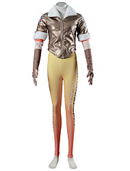 Inspired by OW Overwatch Tracer Cosplay Costumes Yellow Brown Short Sleeve Coat Pants Sleeves Gloves