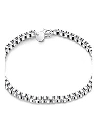 Exquisite Simple Silver Plated Geometric Box Style Chain & Link Bracelets Jewellery for Women Accessiories