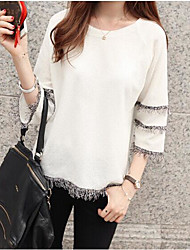 Women's Casual/Daily Sexy Spring Summer Blouse,Solid Boat Neck Long Sleeve Polyester Medium