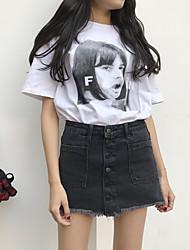 Zeichen 2017 Sommer Frauen&# 39; s neue koreanische koreanische schlanke Taille Kanten ein Wort schwarzen Denim Rock Bust Rock
