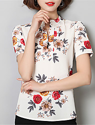 Women's Going out Casual/Daily Street chic Spring Shirt,Floral V Neck Short Sleeve Polyester Medium