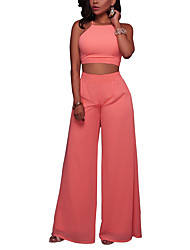 Women's Going out Club Sexy Street chic Cross Bare Midriff Summer Fall Tank Top Wide Leg Pant SuitsSolid Halter Sleeveless Backless Micro-elastic