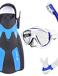 Set de Snorkeling Plongée & Masque et tuba Caoutchouc Verre Silikon Jaune Bleu Noir-WHALE